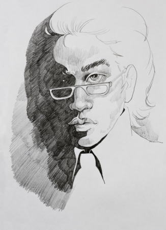 pencil drawing portrait of young man in glasses Stock Photo - 19589364