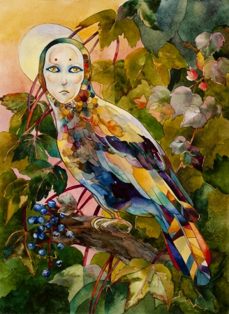 allegory painting: Mythical bird with female face on sunset forest watercolor illustration Stock Photo