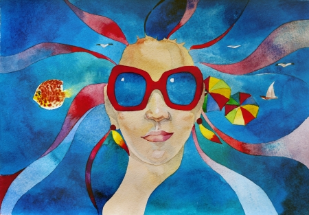 watercolor summer travel concept girl in red sunglasses with sea in her hair photo