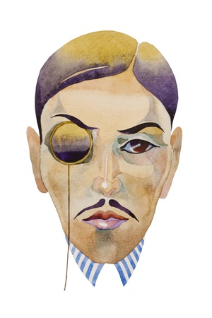 retro style watercolor portrait of man with monocle jazz epoch