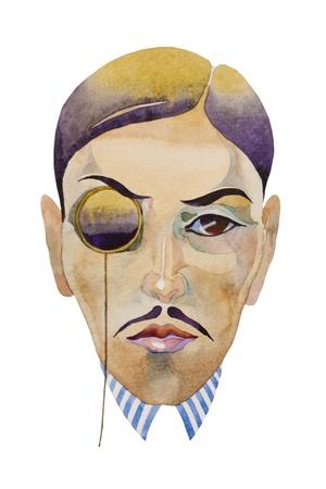 epoch: retr� stile acquerello ritratto di uomo con monocolo jazz epoca