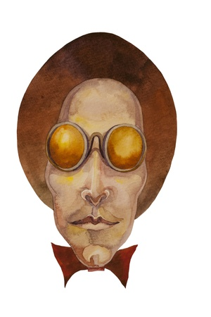 man in round sun glasses and top hat cartoon style watercolor painting
