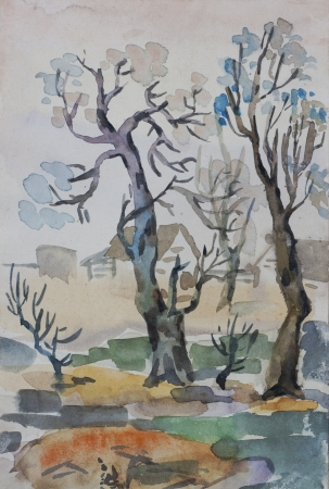rural scene: Rural autumn scene with trees and house primitive watercolor painting Stock Photo