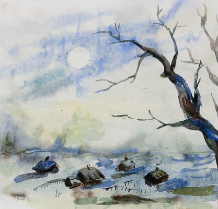watercolor technique: Winter rural landscape view from forest to village original watercolor painting
