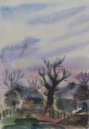 Dramatic sky in rural landscape with trees and buildings primitive watercolor art photo