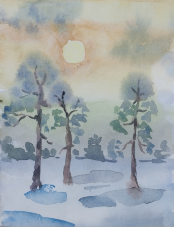winter pine forest in dawn primitive watercolor art photo