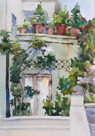 Small eastern garden near entrance and flower pots on balcony original watercolor art