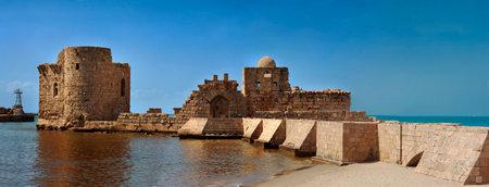 Old crusaders castle of 13th century with the bridge into the sea in Saida, Lebanon Editorial
