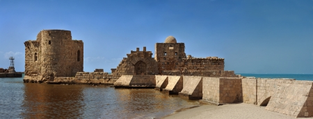 Old crusaders castle of 13th century with the bridge into the sea in Saida, Lebanon Editorial