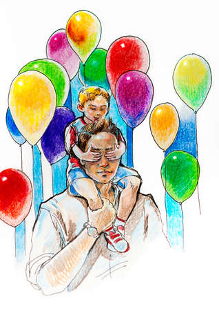 my dad is the best, happy fatherhood concept with happy boy at father shouldersclose father's eyes with ballons photo