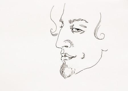 ink sketch: L'uomo ritratto ironico semplice contorno schizzo inchiostro su carta