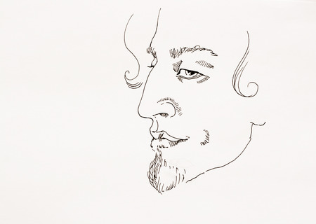 ironic: Man ironic portrait simple outline ink sketch on paper