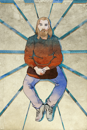 prophet: middle age sitting hipster with beard and bag into his hand, modern prophet symbol, original illustration mixed media