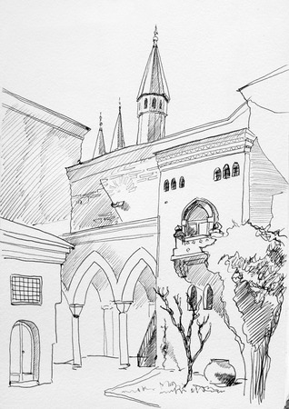 garden gate: Ink sketch of Istanbul Topkapi museum inner yard with towers, columns and old walls