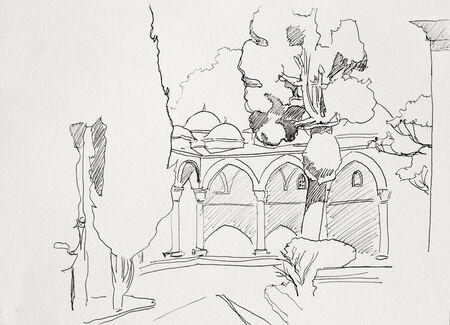 ink sketch: Disegno ad inchiostro di museo Topkapi di Istanbul cortile interno con archi e cipressi