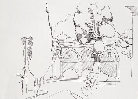 garden gate: Ink sketch of Istanbul Topkapi museum inner yard with arcs and cypress