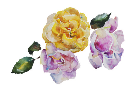 revivalism: Bouquet of yellow and light pink roses with leaves, corner watercolor pattern from original art