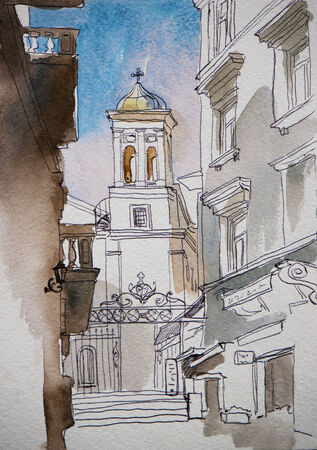 saint mary: Architectural sketch of bel ltower of Saint Mary Draperis Church  view from Istiklal, Istanbul, Turkey