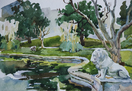 watercolour painting: Classical park with pond and lion sculpture in Beshiktash district, Istanbul, original watercolor art
