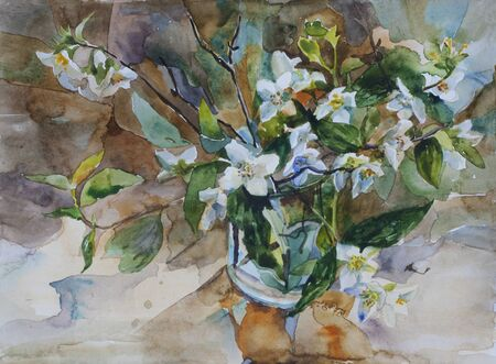 tree jasmine: Bouquet of white blossom jasmine in a glass watercolor painting still life classic style Stock Photo
