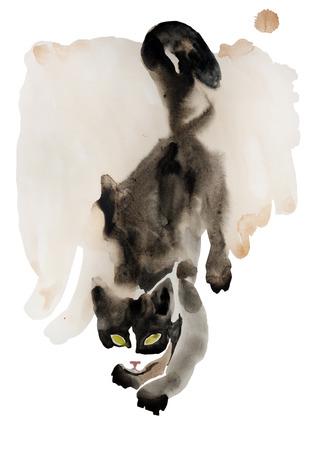 slink: black and white watercolor sneaking cat wet flow watercoulor original art Stock Photo