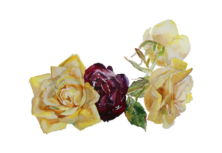 maroon: Bouquet of yellow and maroon roses with leaves, corner watercolor pattern from original art