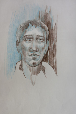 dangerous man: Dangerous man pencil abstract portrait on grey paper in blue and brown colors etching Stock Photo