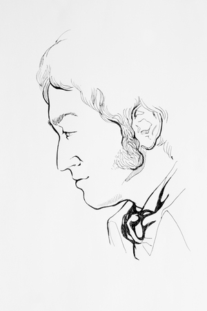 Pen ink drawing abstract man portrait side veiw retro male with sideburns Stock Photo