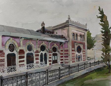 fasade: Original watercolor art Sirkeci railway station historic fasade of Orien express illustration Stock Photo