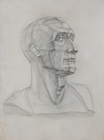 paper sculpture: Drawing of roman head Niccolo da Uzzano by Donatello. Stock Photo