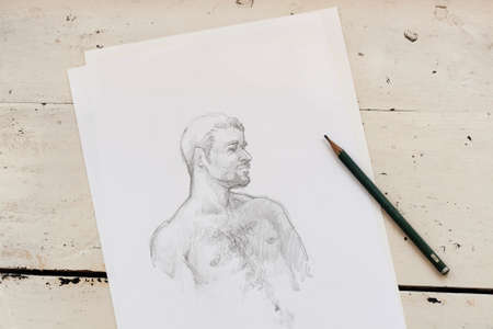 male model: Art sketch of abstact male model on white paper Stock Photo