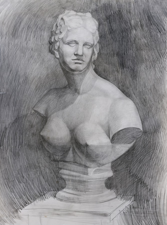 venus: Pencil drawing of marble bust Venus on paper study sketch