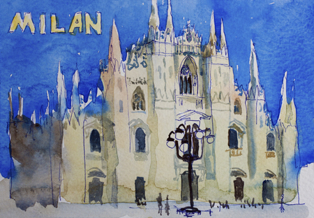 dome: Speedpaind watercolor art postcard of Milan Dome Duomo, Lombardia, Italy Stock Photo