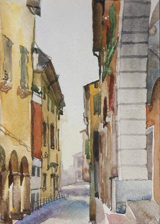 italy street: Original watercolor landscape of narrow Bologna medieval street with old buildings and arches in the sunny day, Italy