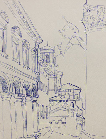 bologna: Architectural lineart sketch in Bologna, Italy,  piazza Verdi, original pen drawing Stock Photo