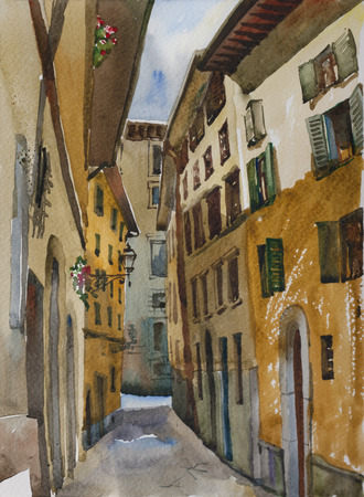 Narrow Florence street in a sunny day original watercolor painting, urban italian illustration, perspective deformation