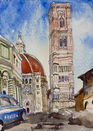 florence duomo watercolor postcard painting, Italy architectural sketch with church, belltower and battistery