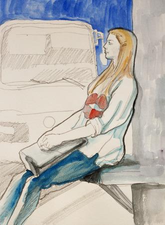 transportes: Bosquejo de la mujer joven sentada en la parada de autobús a la espera de su transporte y tinta ilustración de la acuarela Foto de archivo