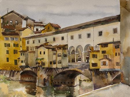 Paisaje urbano de la acuarela con el puente Ponte Vecchio con el río Arno, Florencia, Toscana, Italia, el arte original de la pintura Foto de archivo - 59792540