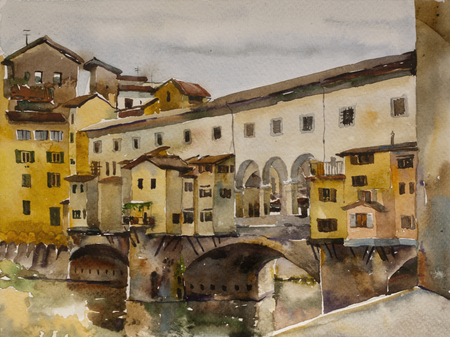 Watercolor cityscape with Ponte Vecchio bridge with Arno river, Florence, Tuscany, Italy, original painting art