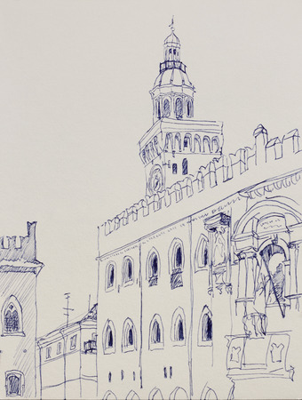 Architectural lineart sketch in Bologna, Italy, medieval piazza Maggiore, original pen drawing