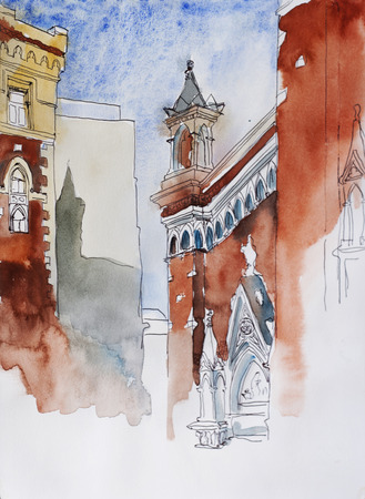 inner yard of Sent Antuan Kilisesi in Istanbul, Turkey, architektural ink and watercolor sketch Stock Photo