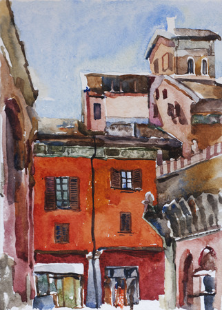 Watercolor painting of Bologna piazza di Porta Ravegnana near two towers urban medieval cityscape Stock Photo