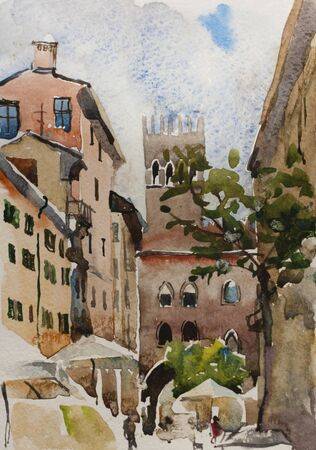 Original watercolor landscape of narrow Bologna medieval street with old buildings and arches in the rainy day, Italy
