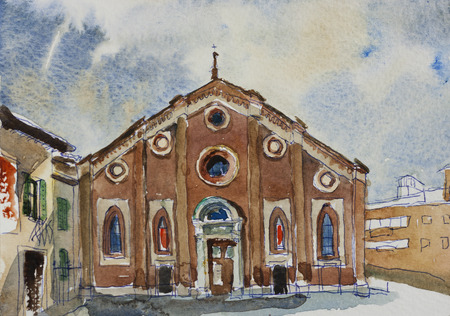 maria: Original watercolor painting postcard fasade of Santa Maria delle Grazie in Milan, Italy Stock Photo