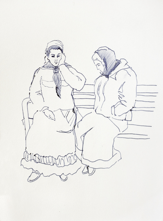 sketch drawing of two romani women sitting on the bench, gypsy girls talk lineart Stock Photo