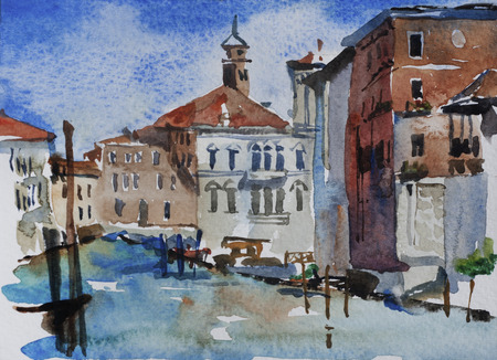 Venice landscape watercolor view on Grand Canal near Academy, Italy