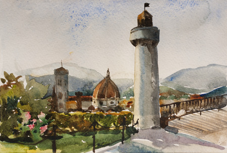 View on Santa Maria Novella from Piazzale Michelangelo in the twilight original watercolor painting art, Florence, Tuscany, Italy Stock Photo