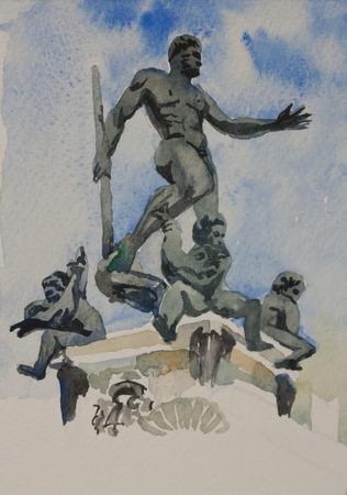 neptuno: Postal original de la pintura watercolot del símbolo de Bolonia Neptuno fuente de la Piazza Maggiore, Italia