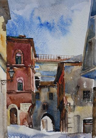 narrow: Original watercolor landscape of narrow Bologna medieval street with old buildings and arches in the sunny day, Italy